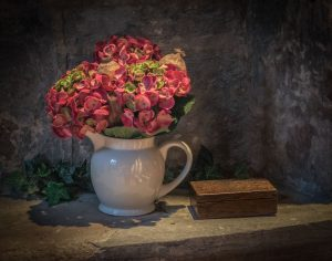 Jug of Flowers with Box (Church of St John the Baptist, Brinklow) by Eric Tatham