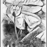 EMERGING WATER LILY (Corel Painter Charcoal Drawing) by Terry Mann